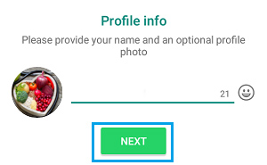 Whatsapp Create an account - Edit Profile Picture