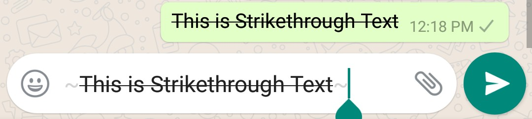 Whatsapp Text Format Tutorial - Strikethrough