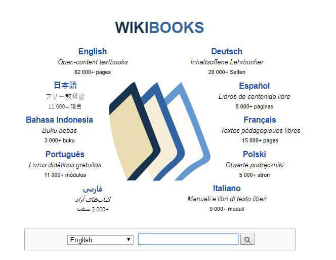 WikiBooks -free content e-book textbooks and annotated texts