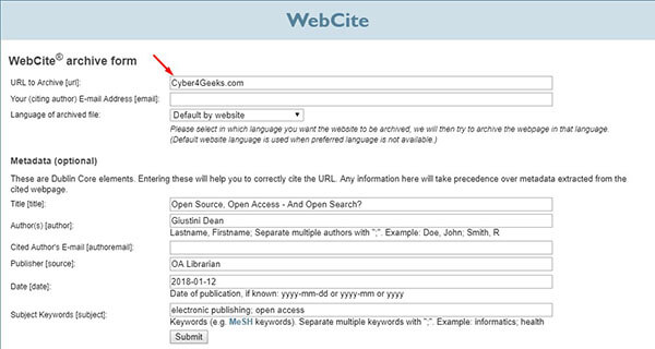 Webcite- Archiving Website
