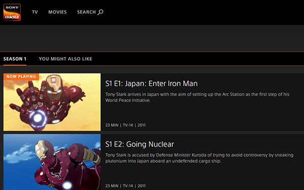 Sony Crackle Top Anime Website